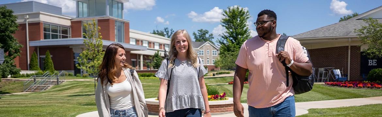 students walking through quad